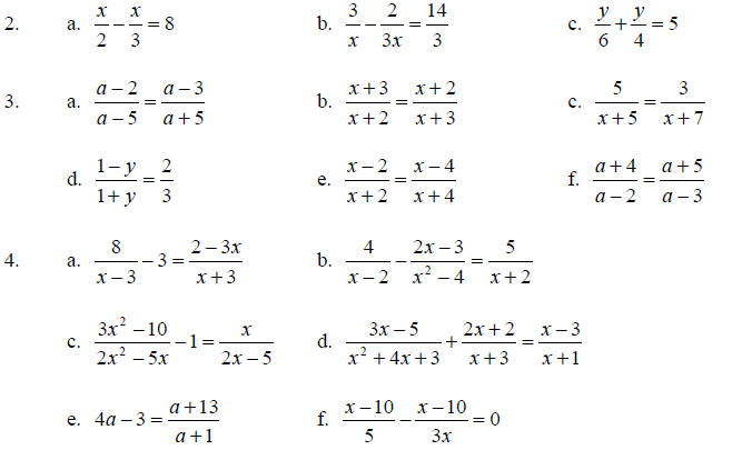 Rational Expressions and Their Simplification – Solving Fractional Equations Worksheet
